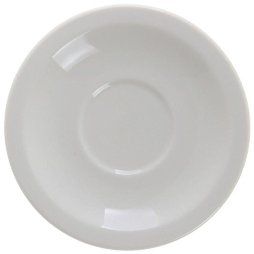 - Buffalo Cream White Undecorated Rolled Edge Saucer, 5 1/2 inch - 36 per case.