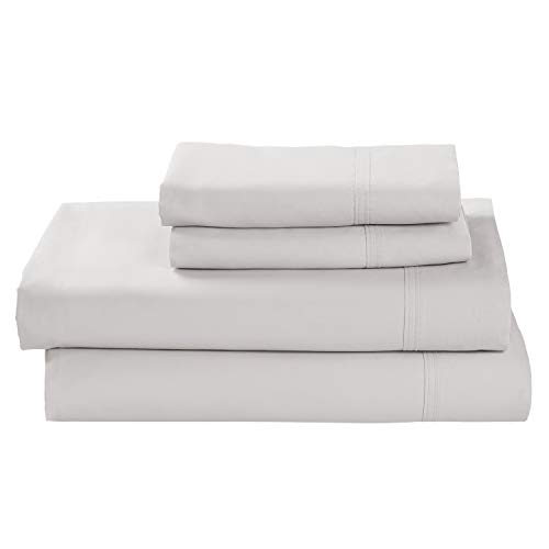 Stone & Beam 100% Supima Cotton Sheet Set, Soft and Easy Care, Queen, White