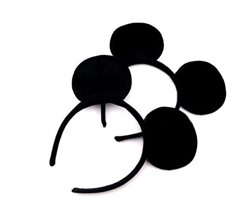 Finex Mickey Minnie Mouse Costume Deluxe Fabric Ears Headband Set of 2 (Mickey -Child-)]()