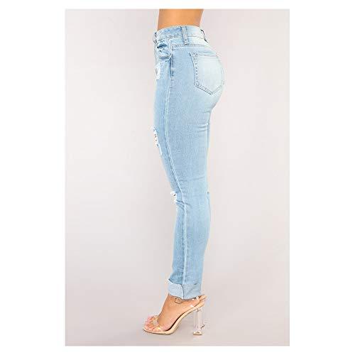 M Color Blue coton en Jeans crayon au Size pour avec trou Blue femme nF7xPd875