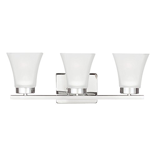 Sea Gull Lighting 4411603-05 Bayfield Three-Light Bath or Wall Light Fixture with Satin Etched Glass Shades, Chrome Finish ()