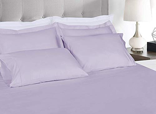 Threadmill Home Linen 300 Thread Count 100% Cotton Sheets Set of 2 Standard Pillow Cases, Luxury Smooth Solid Sateen, Lilac (Lilac Standard)
