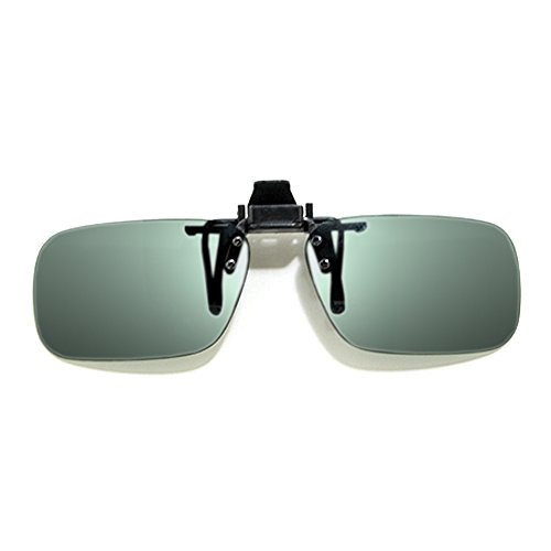 Calabria Rectangle Polarized Flip-Ups 55mm CME96 with Grey - Flip Attachment Sunglasses Up