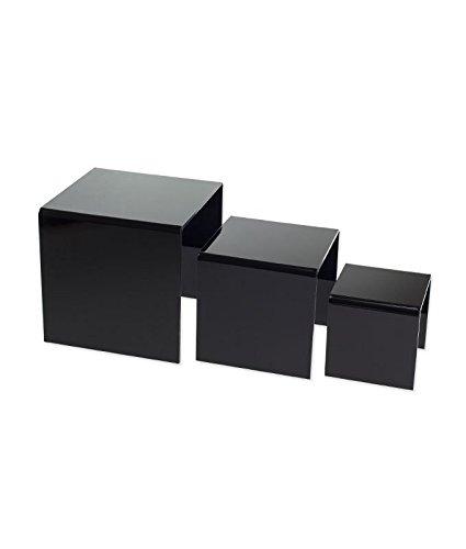 [SourceOne 3,4,5 Inch Square Acrylic Riser Set (Black)] (Iii Iv Square)