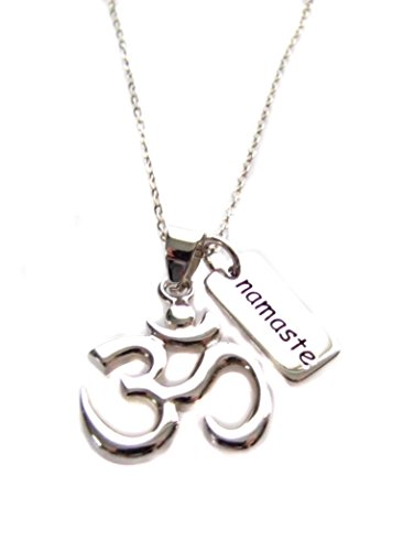 Heart Projects Om Ohm Aum Pendant Namaste Charm, Sterling Silver 925 Necklace 18