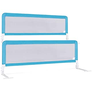 Costzon Double Sided Bed Rail Guard, Set of 2, Extra Long, Swing Down Safety Guard for Toddler Convertible Crib, Folding Baby Bedrail for Kids Twin, Double, Full Size Queen & King (Blue, 59-Inch)