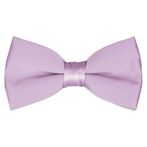 Adult & Boys' Deluxe Satin Adjustable Bow Tie By Tuxgear (Mens, Lilac) - Purple Satin Bow