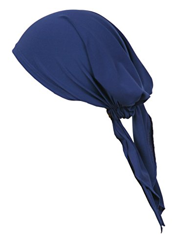 Blue Jersey Bandana (Love Lakeside Women's Soft Jersey Knit, Solid Color, Pre-tied, Fitted Headscarf, Chemo Cap Bandana Sleep Turban Head Scarf Cobalt Blue)