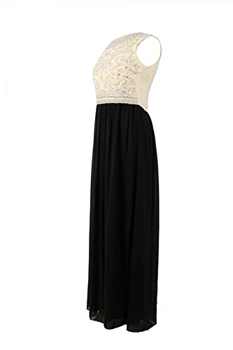 Mujer Embellished Beige Maxi vestido de noche ( Beige