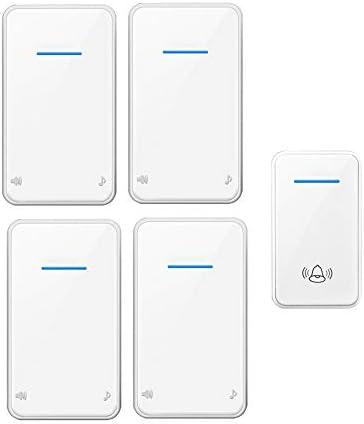 スマートワイヤレスホームドアベル、1000ft範囲の防水調整可能な音楽ドアチャイムキット、1プッシュボタンと4 レシーバー、48着信音、6ボリュームレベル(0-115 dB),白
