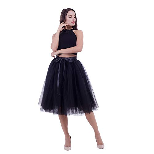 Black WHFDBZQ 7 Layers 65Cm Knee Length Tulle Skirt Tutu Women Skirt High Waist Pleated Skirt Cosplay Petticoat Elastic Belt