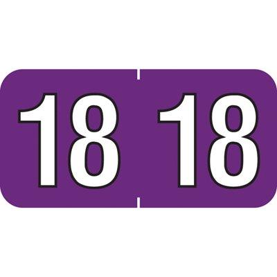2018 End Tab Year Label (Purple)- Polylaminated, 500/Roll