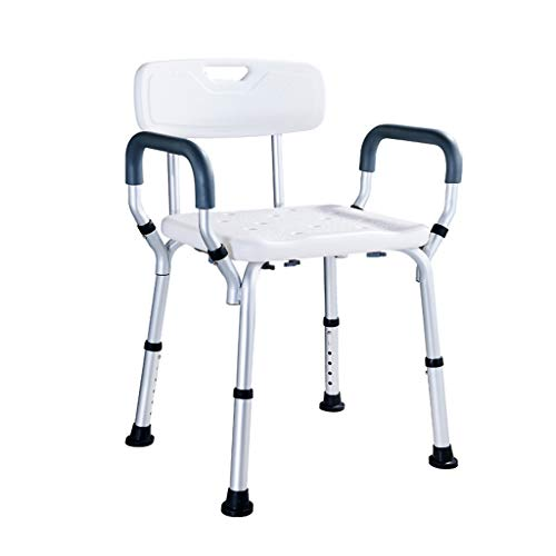 Bath Stool Bath Anti-Slip Chair White Shower Stool Adjustable Bath Perching Stool (Color : with backrest)
