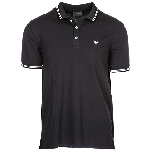 Emporio Armani Men's Fashion Polo Tees, Nero, L