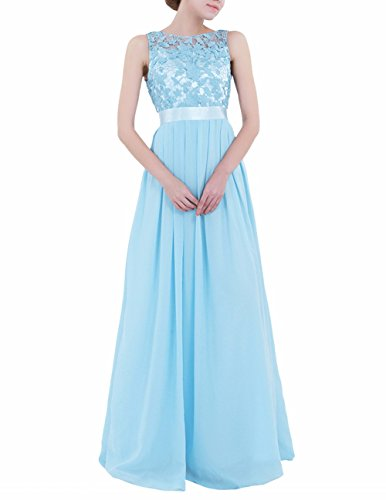 (FEESHOW Women's Floral Lace Appliques Chiffon Wedding Bridesmaid Long Dress Prom Evening Gowns Sky Blue)