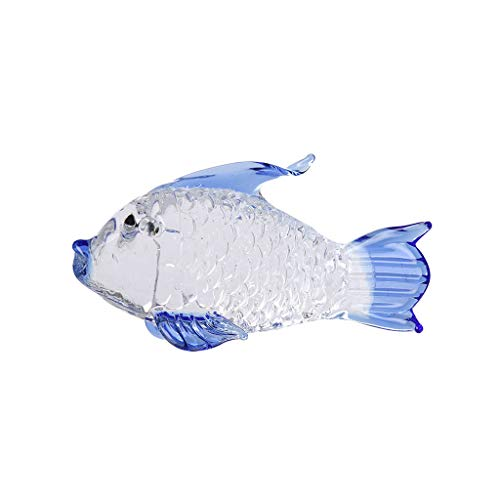 NIHAI Crystal Transparent Big Goldfish Glass Ornament Wedding Decor Paperweight Figurine Gift Crafts Wedding Gifts Party Home Decoration- 52mmx10mm (Blue)