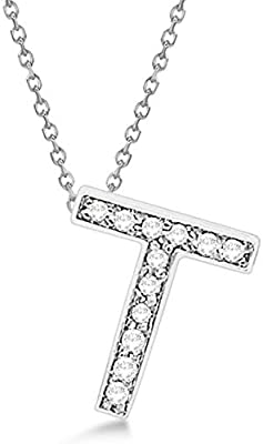 Initial Personalized Pendant Gemhub Custom Tilted Diamond Block Letter Initial Necklace 14k White Gold