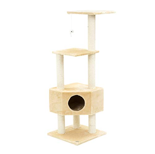 ESU Pets CAT Tree 47″ Scratcher Play House Condo Furniture Bed Post Pet House