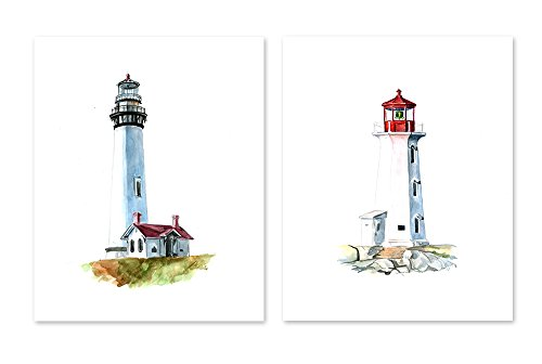 AtoZStudio A29 Lighthouse Wall Art Decor Prints - Set of 2 Pictures - Bathroom Home Posters - Watercolor Painting Artwork (8x10) ()