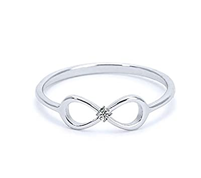 Heavy Casted 925 Sterling Silver Infinity Ring-Centered High Quality CZ Stone Available in Sizes 4-13
