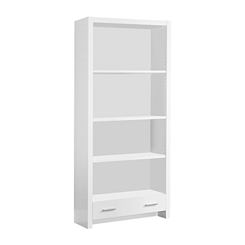 Monarch Specialties White Hollow-Core Bookcase with a Drawer, ()
