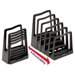 * Adjustable File Rack, Five Sections, 8 x 10 3/4 x 11 3/4, Black