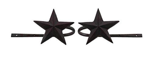 Western Curtain Tie Backs - Zeckos Dark Rustic Red Star Set of 2 Metal Curtain Holdbacks