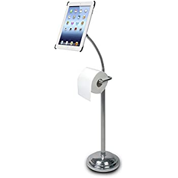 CTA Digital Pedestal Stand for iPad 2/3/4 with Roll Holder (PAD-TSB)