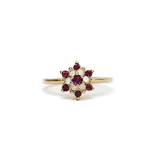 Providence Vintage Jewelry Amethyst Swarovski Crystals Pinfire Opals 18k Yellow Gold Electroplated Star Ring