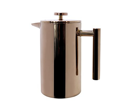 Miuly French Press Coffee & Tea Makers 8 Cup (1 liter, 34 oz), Double Wall 18/8 Stainless Steel Heat Resistant Tea or Cafetiere Kettle, Bonus With Two Extra Filter Screens, Rose Gold Copper
