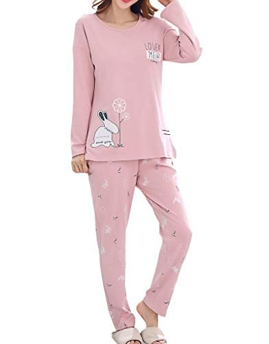 Vopmocld Young Girls Lovely Bunny Pajama Sets Cotton Long Sleeve Pjs Clothes Sleepwear Shirts Pink]()