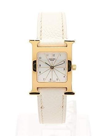 377d9eade9 Amazon | (エルメス) HERMES Hウォッチ 腕時計 レディース クオーツ GP レザー ゴールド 白文字盤 □J刻印 HH1.201  中古 | レディース腕時計 | 腕時計 通販