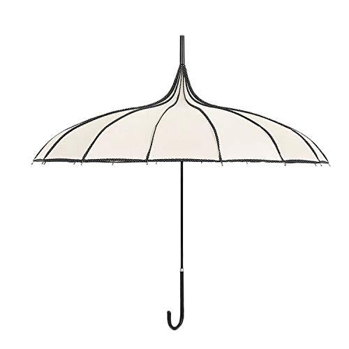 - Beige Women Big Large Long Handle Gothic Classical Windproof Tower Pagoda Rain Umbrella