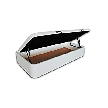 Ventadecolchones - Canapé Apertura Lateral Gran Capacidad Modelo Serena tapizado en Polipiel Blanco Medidas 135 x 190 cm (Borde de Tapa en Polipiel): ...