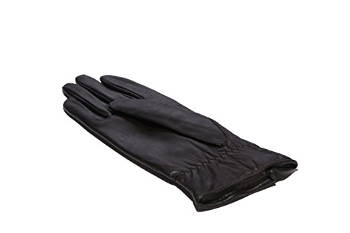 MoDA Women's Ms. Tokyo Genuine Leather Wool Lined Gathered Zip Winter Gloves