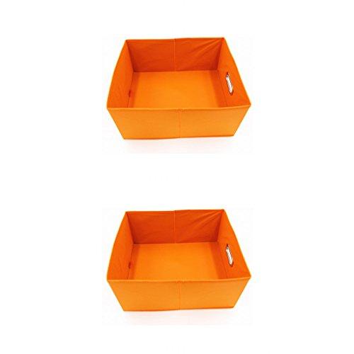 Fvstar 2pcs Foldable Fabric Cube Storage Bins Basket with Metal Handle-Bin for Organizing Kids Toys Baby Clothing Laundry (Orange)