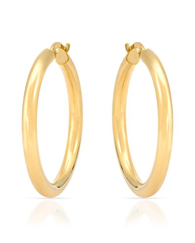14k Yellow 3mm Hoop Earrings - MCS Jewelry 14 Karat Yellow Gold Large Round Hoop Earrings 3mm Thickness (Available in 5 Different Sizes) (30 mm Diameter)