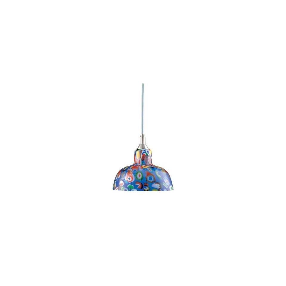 Hampton Bay 1 Light Mini Pendant with Multicolor Art Glass Shade