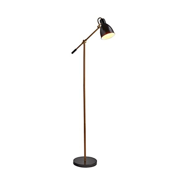 "Rivet Caden Adjustable Task Floor Lamp with  Bulb, 60""H, Black and Brass 2"