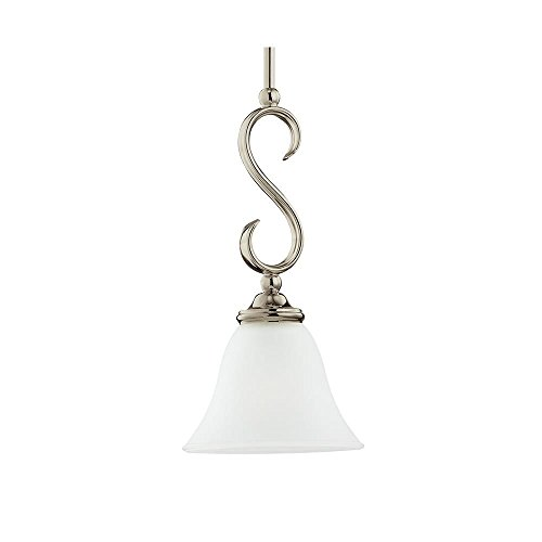 Sea Gull Lighting 61360-965 Single-Light Rialto Mini-Pendant, Etched White Alabaster Glass Shade, Antique Brushed Nickel (Alabaster Glass Single Shade)