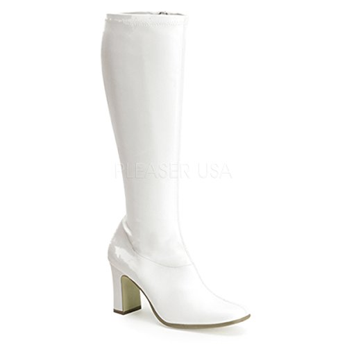 Funtasma by Pleaser Women's Kiki-350 Boot,White Stretch,8 M