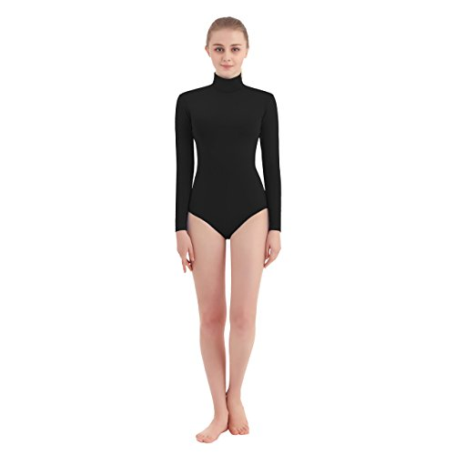 SUPRNOWA Women's Turtleneck Lycra Spandex Long Sleeve Leotard (X-Small, Black)