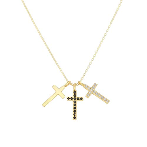 Heart Made of Gold 18K Cross Necklace - Dainty Necklace - Layered Necklaces for Women (Gold)