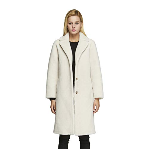 Fur Story Women's Lamb Shearing Fur Coat Thick Warm Winter Coat Full Sleeve Turn Over Collar (US10, Beige)