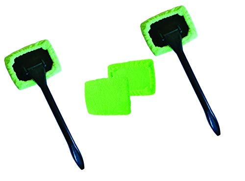 Windshield Cleaner (2 Pack) with 4 Micro Fiber Bonnets, 2 Spray Bottles 8 Piece Set Pivoting Head, Glass Window Cleaner Auto-Home-Office