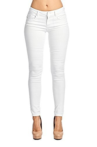 Women's Casual Ripped Holes Skinny Jeans Jeggings Straight Fit Denim Pants (US 4, White)