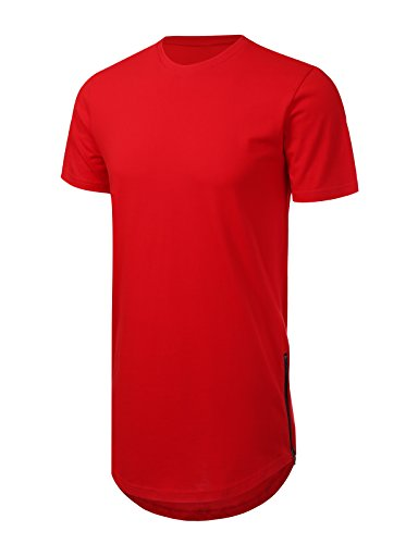 JD Apparel Mens Hipster Hip Hop T-shirt With Side Zipper Trim 2XL Red (Best Mens Hipster Clothing Websites)