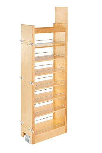 (Rev-A-Shelf 11 in W x 58 in H Wood Pantry Pullout Soft Close Natural)