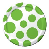 1 X Lime Green Polka Dots Dessert (Green 7' Paper Plates)