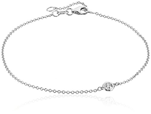 14k White Gold Solitaire Bezel Set Diamond with Lobster Clasp Strand Bracelet (1/10cttw, J-K Color, I2-I3 - Plain Gold Bezel
